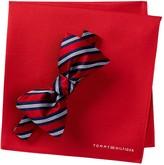 Tommy Hilfiger Silk Stripe Bow Tie & Pocket Square Set