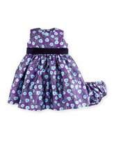 Oscar de la Renta Sleeveless Petite Roses Mikado Dress w/ Bloomers, Ultraviolet, Size 12-24 Months