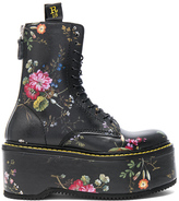 R 13 Leather Double Stack Boots in Black,Floral.