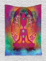 Ambesonne Yoga Decor Collection, Padmasana with Colored Chakra Points Breath Ease Relax Exercise Mystic Spiritual Art, Bedroom Living Room Dorm Wall Hanging Tapestry, Fuchsia Mustard