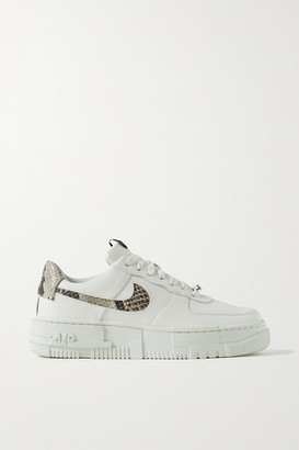 Nike Air Force 1 Pixel Smooth And Snake-effect Leather Sneakers - Off-white