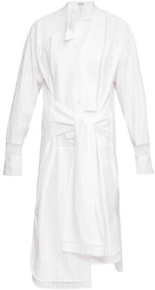 Loewe Tie-front Ladder-inset Striped Cotton Shirt Dress - White