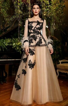 Cristallini Long Sleeve Embroidered Gown