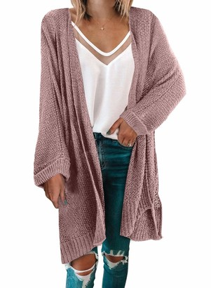 LOSRLY Womens Winter Solid Casual Cozy Knit Open Front Long Cardigan Sweater Pink