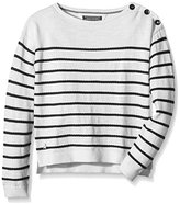 Tommy Hilfiger Girl's Striped Round Collar Long Sleeve Jumper - White -