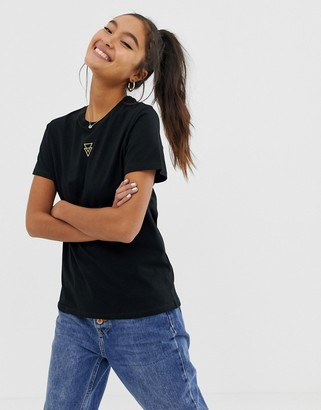 Asos DESIGN t-shirt with triangle logo in metallic embroidery