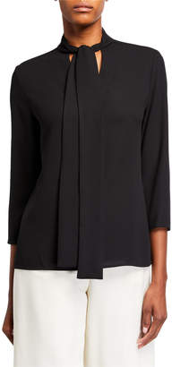 Anne Klein Tie-Neck Long Sleeve Blouse