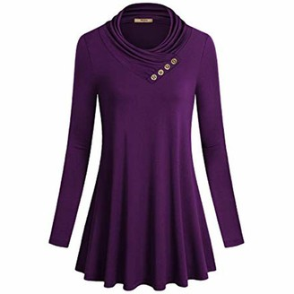 ReooLy Women's Button Long Sleeve Cowl Neck Form Fitting Casual Tunic Top Blouse Purple