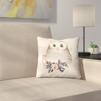 """East Urban Home Boho Flower and Owl Throw Pillow Size: 14"""" x 14"""""""