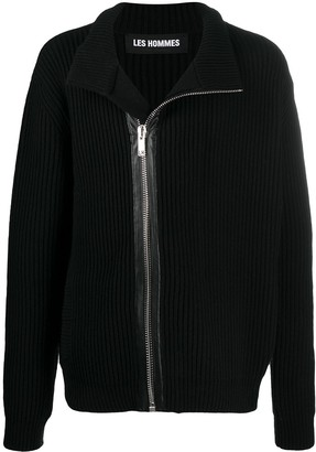 Les Hommes Zip-Through Ribbed Sweater