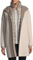 Fleurette Double-Face Hooded Wool Coat w/ Ultra Light Down Jacket