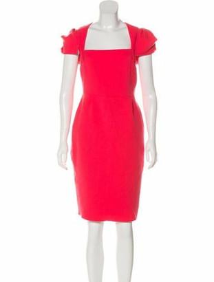 Roland Mouret Square Neck Knee-Length Dress Coral