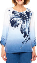 Alfred Dunner Indigo Girls 3/4 Sleeve Floral T-Shirt