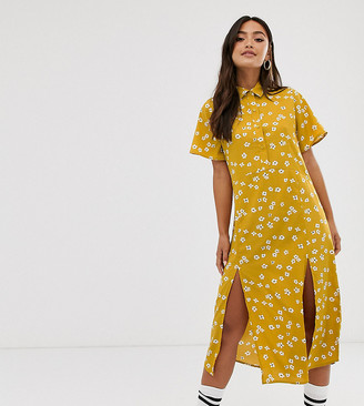 Wednesday's Girl midi dress with splits in daisy floral print-Yellow