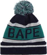 A Bathing Ape Logo knitted bobble hat