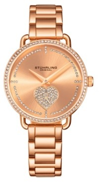 Stuhrling Original Women's Rose Gold Stainless Steel Bracelet Watch 38mm