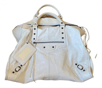 Balenciaga Weekender White Leather Handbags