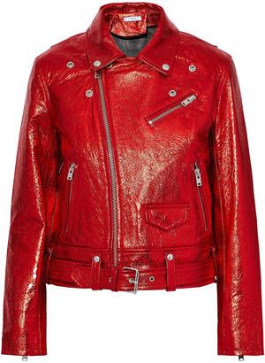 IRO Metallic Cracked-leather Biker Jacket