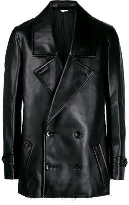 Comme des Garcons double-breasted faux-leather coat