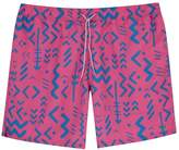 Mens Farah Hot Pink Colbert Abstract Tribal Print Swim Short - Pink