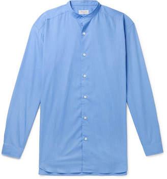 Charvet Grandad-Collar Melange Cotton-Poplin Shirt