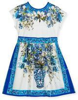 Dolce & Gabbana Short-Sleeve Caltagirone Floral Dress, White, Size 2-6