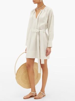 Santorini Asceno Belted Linen Shirt Dress - Womens - Ivory
