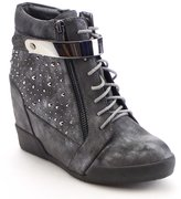 NATURE BREEZE FRONTRUNNER-03 Women's Studded Lace Up Side Zip Wedge Ankle Bootie, Color:, Size:8