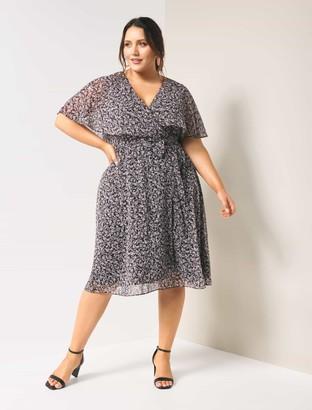 Forever New Katie Curve Cape Wrap Dress - Juniper Ditsy - 16