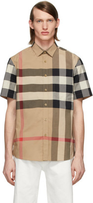 Burberry Beige Check Slim Short Sleeve Shirt