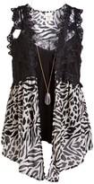 Self Esteem Clothing clothing Women's Dresswear Vests Parchment - Parchment Zebra Crochet-Detail Vest & Black V-Neck Tank - Women