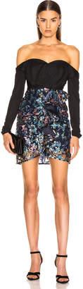Self-Portrait Off Shoulder Floral Sequin Embellished Dress in Multi | FWRD