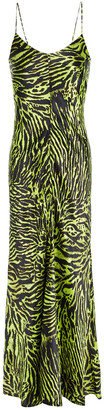 Ganni Printed Silk-blend Satin Maxi Dress
