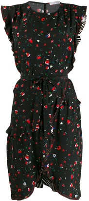 Derek Lam 10 Crosby Lyra Belted Splatter Floral Ruffle Dress