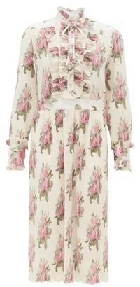 Paco Rabanne Ruffled Floral-print Plisse Midi Dress - Womens - White Multi