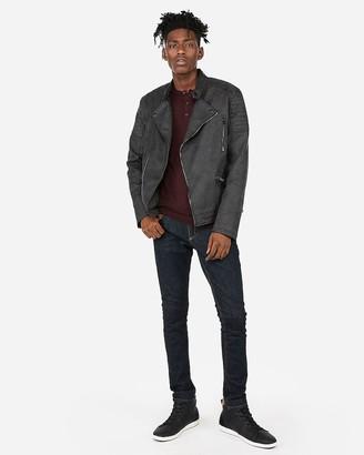 Express Vegan Leather Distressed Asymmetrical Moto Jacket