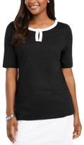 Karen Scott Contrast-Trim Keyhole Elbow-Sleeve Top, Created For Macy's