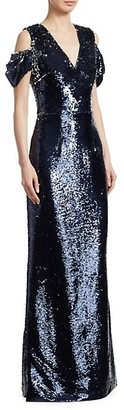 Safiyaa Sequin Cold-Shoulder Gown