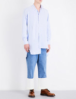 Loewe Asymmetric-hem striped relaxed-fit cotton shirt