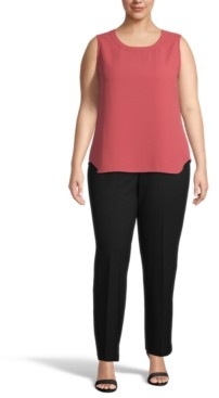Anne Klein Plus Size Solid Sleeveless Crewneck Top
