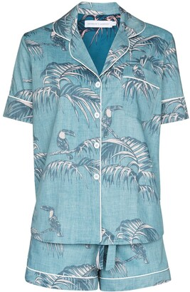 Desmond & Dempsey Bocas leaf-print pyjama set