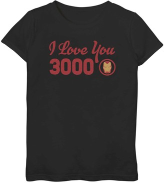 Iron Man Licensed Character Girls 7-16 Marvel I Love You 3000 Icon Tee