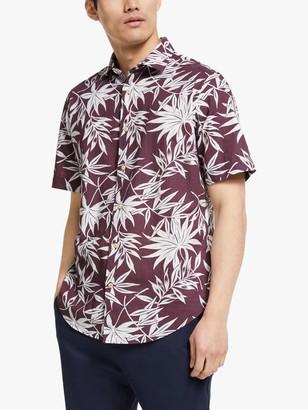 John Lewis & Partners LA Palm Print Short Sleeve Shirt
