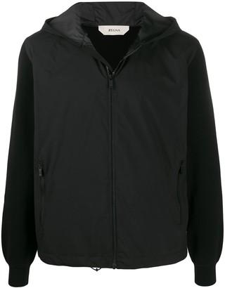 Ermenegildo Zegna Contrasting Fabric Hooded Jacket