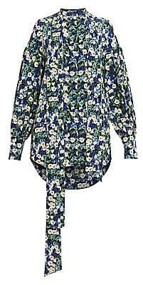 Rokh Women's Double Floral Silk Tieneck Blouse