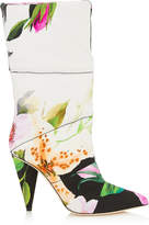 Jimmy Choo SARA 100 Floral Padded Printed Moire Mid High Boots
