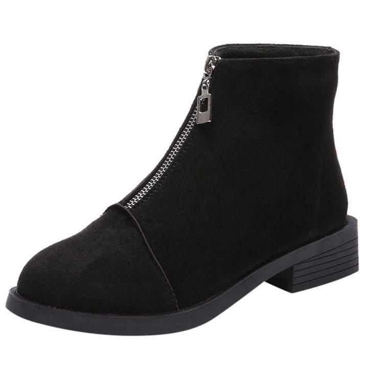 f0015521d5892 Leopard print Shoes Zipper Boot Ankle Short Snow Booties Women Outdoor  Vintage Leisure sneakers Hunzed Women Shoes Square Zipper Round Head Suede  ...