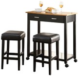 ACME Furniture 3 Piece Maroth Counter Height Dining Set Wood/Black - Acme