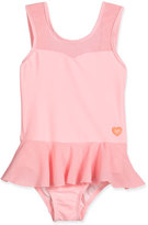 Seafolly Peek-A-Boo Peplum One-Piece Swimsuit, Carnation Pink, Size 2-7