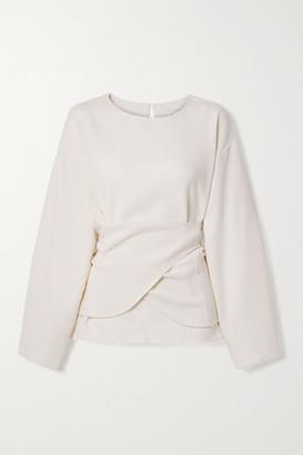 LE 17 SEPTEMBRE Wrap-effect Wool-crepe Top - Ivory